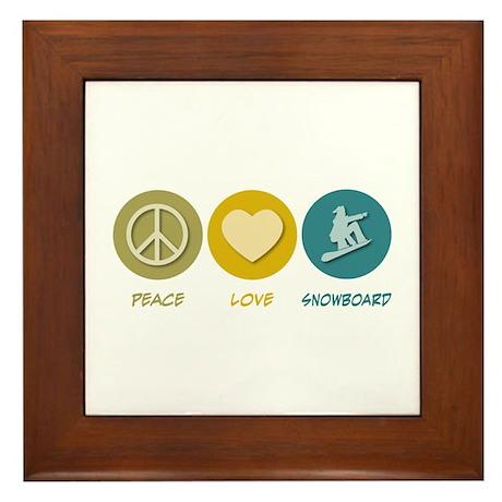 Peace Love Snowboard Framed Tile