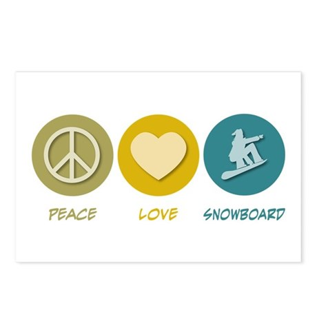 Peace Love Snowboard Postcards (Package of 8)