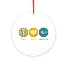 Peace Love Snorkel Ornament (Round)