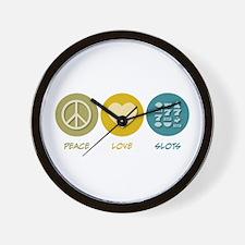 Peace Love Slots Wall Clock
