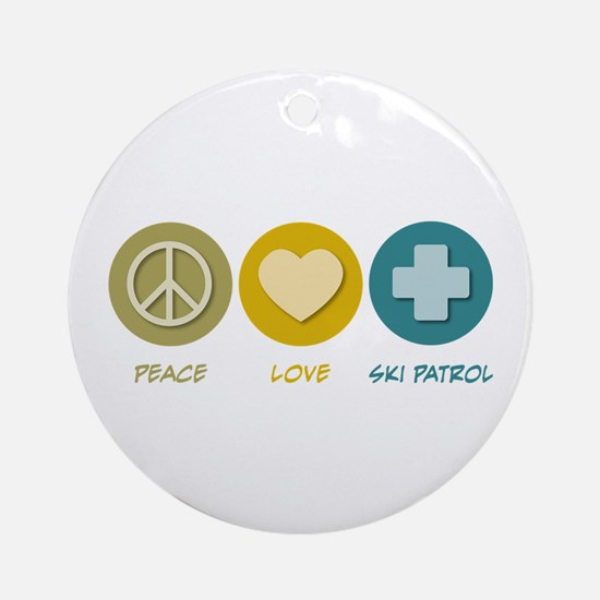 Peace Love Ski Patrol Ornament (Round)