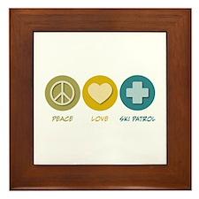 Peace Love Ski Patrol Framed Tile