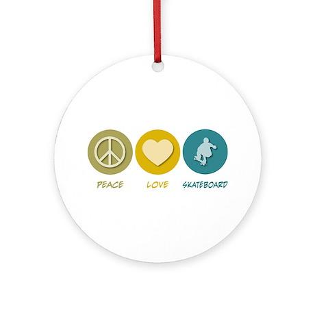 Peace Love Skateboard Ornament (Round)