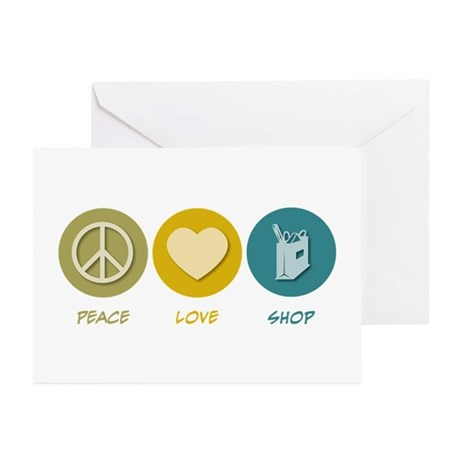Peace Love Shop Greeting Cards (Pk of 10)