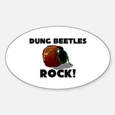 Dung Beetles Rock! Oval Decal