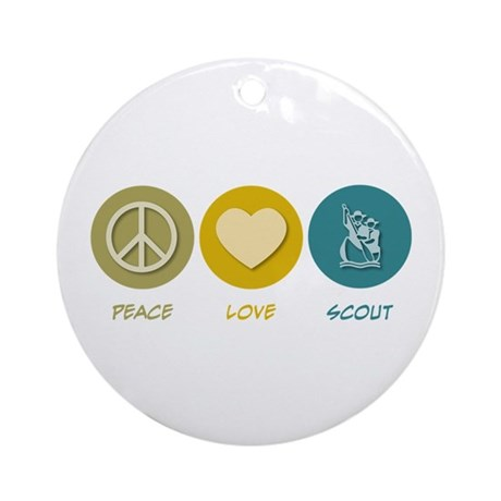 Peace Love Scout Ornament (Round)