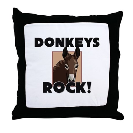 Donkeys Rock! Throw Pillow