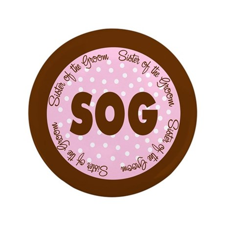 "Polka Dot Groom's Sister 3.5"" Button"