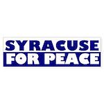 Syracuse for Peace bumper sticker