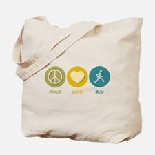 Peace Love Run Tote Bag