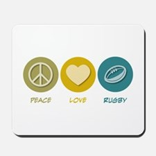 Peace Love Rugby Mousepad