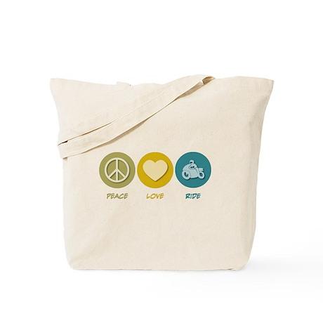 Peace Love Ride Tote Bag