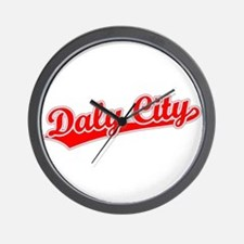 Retro Daly City (Red) Wall Clock