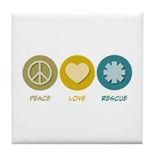Peace Love Rescue Tile Coaster