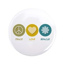 """Peace Love Rescue 3.5"""" Button (100 pack)"""