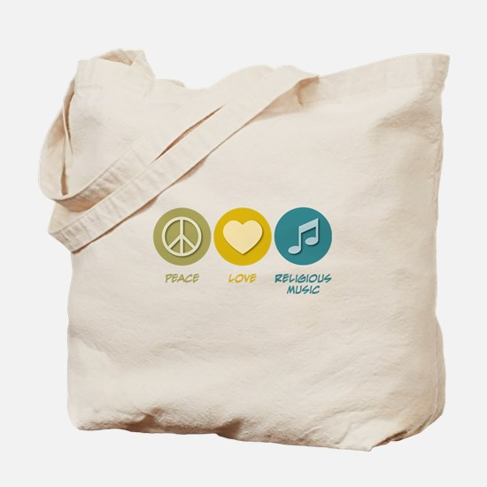 Peace Love Religious Music Tote Bag