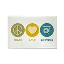 Peace Love Records Rectangle Magnet