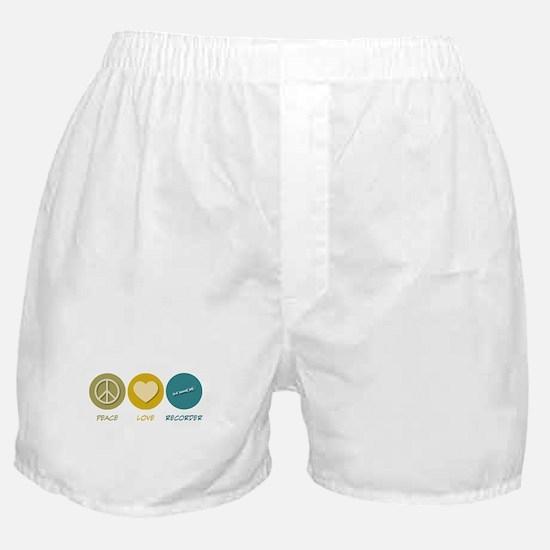 Peace Love Recorder Boxer Shorts