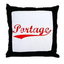 Vintage Portage (Red) Throw Pillow
