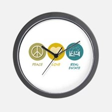 Peace Love Real Estate Wall Clock
