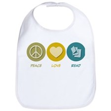 Peace Love Read Bib