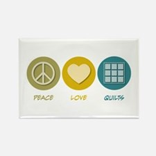 Peace Love Quilts Rectangle Magnet