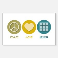 Peace Love Quilts Rectangle Decal