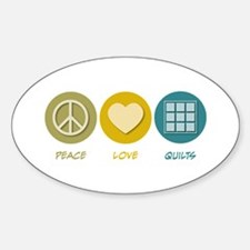 Peace Love Quilts Oval Decal