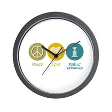 Peace Love Public Speaking Wall Clock