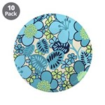 "Blue Hippie Flower Art 3.5"" Button (10 pack)"