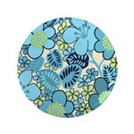 "Blue Hippie Flower Art 3.5"" Button"
