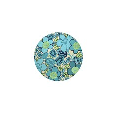 Blue Hippie Flower Art Mini Button