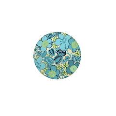 Blue Hippie Flower Art Mini Button