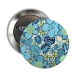 "Blue Hippie Flower Art 2.25"" Button"
