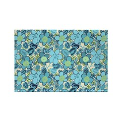 Blue Hippie Flower Art Rectangle Magnet (10 pack)