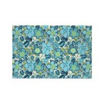 Blue Hippie Flower Art Rectangle Magnet (10 pack)