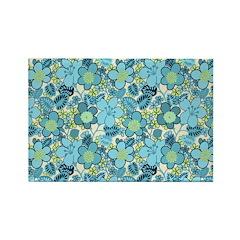 Blue Hippie Flower Art Rectangle Magnet (100 pack)