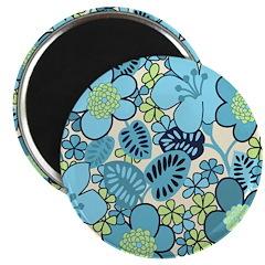 Blue Hippie Flower Art Magnet