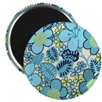 "Blue Hippie Flower Art 2.25"" Magnet (100 pack)"