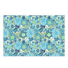 Blue Hippie Flower Art Postcards (Package of 8)