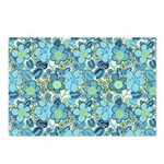 Blue Hippie Flower Art Postcards (Package of 8)