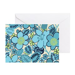 Blue Hippie Flower Art Greeting Cards (Pk of 20)