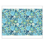 Blue Hippie Flower Art Small Poster
