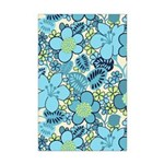 Blue Hippie Flower Art Mini Poster Print