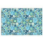 Blue Hippie Flower Art Large Poster