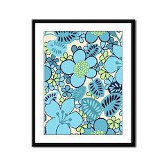 Blue Hippie Flower Art Framed Panel Print