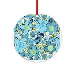Blue Hippie Flower Art Ornament (Round)