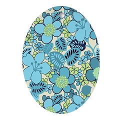 Blue Hippie Flower Art Oval Ornament