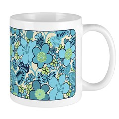 Blue Hippie Flower Art Ceramic Coffee Mug