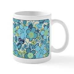 Blue Hippie Flower Art Ceramic Coffee Mug